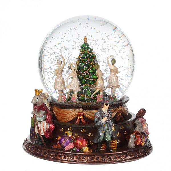 Стеклянный шар с танцующим снегом внутри