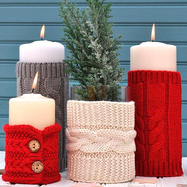 Нарядно декорированные свечи