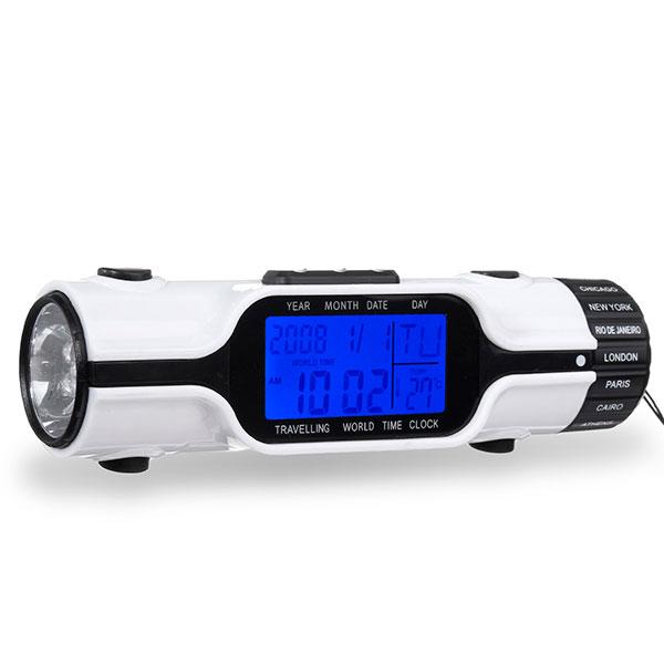 Универсальный фонарик, оснащенный часами, будильником, термометром