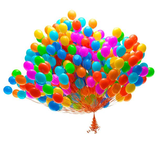 Облако из разноцветных воздушных шаров