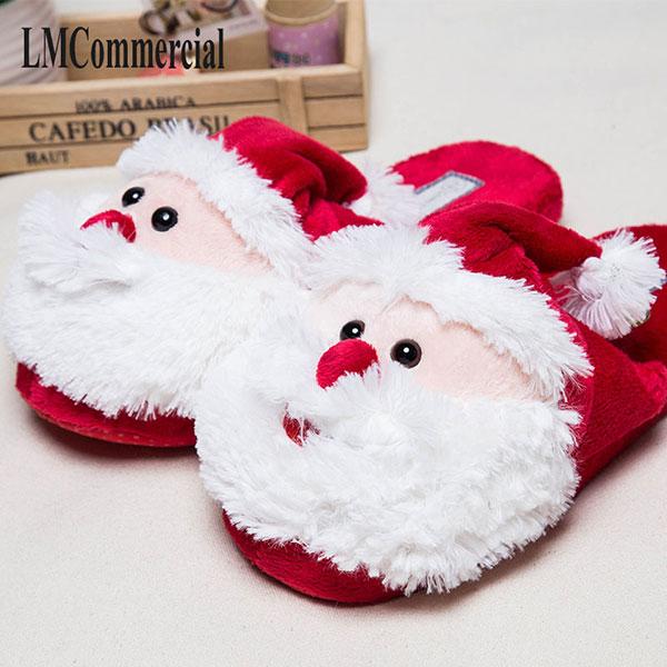 Теплые тапочки с Санта Клаусами