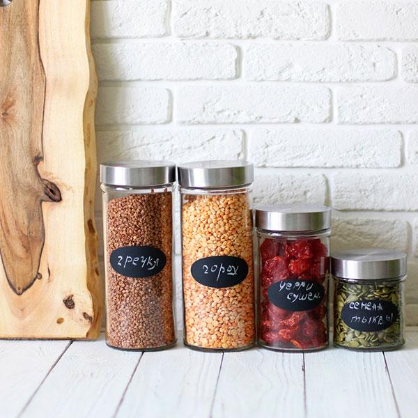 Набор красивых ёмкостей для круп и других сыпучих продуктов в одном стиле