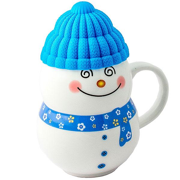 Кружка с крышкой «Снеговик в шапочке»