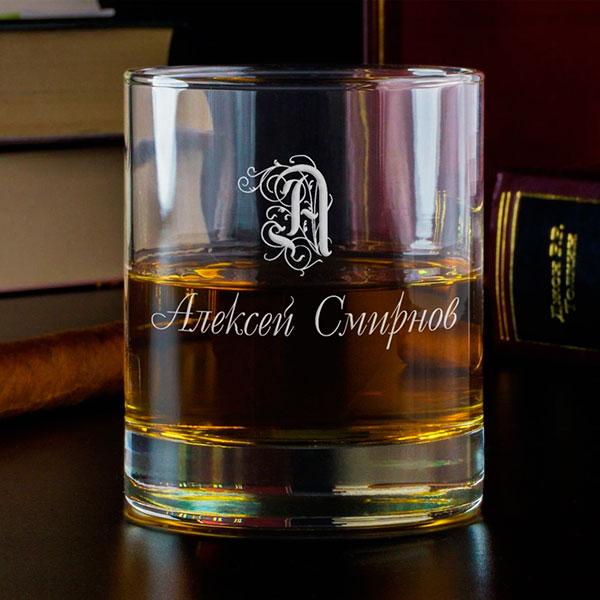 Именной стеклянный стакан для виски