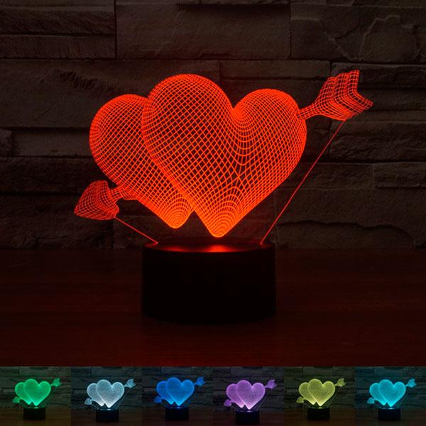 3D-лампа «Сердце со стрелой»