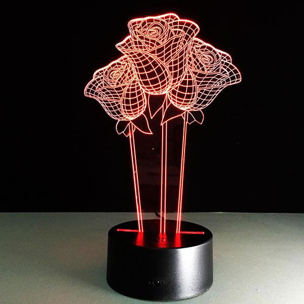 Интерьерный 3D-светильник «Три розы»