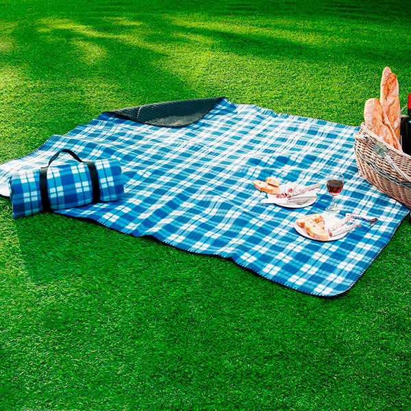 Плед для пикника в синюю клетку