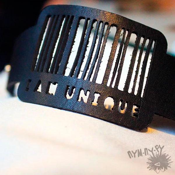Кожаный браслет на руку «Уникальный штрих-код»
