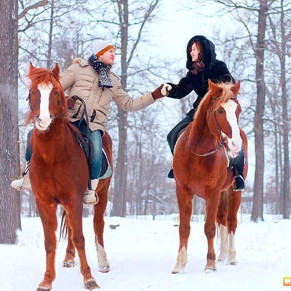 Верховая прогулка на белых лошадях