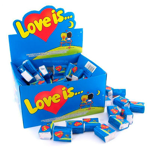 Упаковка знаменитых жевательных резинок «Love is»